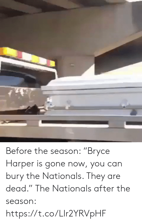 """Sports, Gone, and Nationals: Before the season: """"Bryce Harper is gone now, you can bury the Nationals. They are dead.""""  The Nationals after the season: https://t.co/LIr2YRVpHF"""