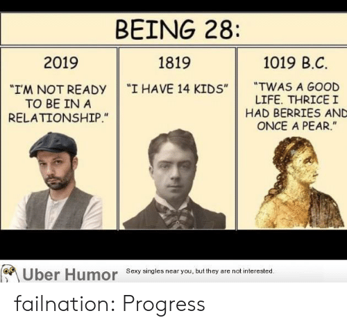 """Life, Sexy, and Tumblr: BEING 28:  1019 B.C  2019  1819  """"TWAS A GOOD  LIFE. THRICEI  HAD BERRIES AND  ONCE A PEAR.""""  """"I HAVE 14 KIDS""""  """"I'M NOT READY  TO BE IN A  RELATIONSHIP.""""  Uber Humor  Sexy singles near you, but they are not interested. failnation:  Progress"""