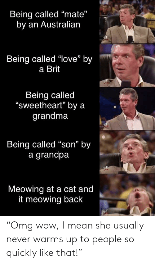 "Quickly: Being called ""mate""  by an Australian  Being called ""love"" by  a Brit  Being called  ""sweetheart"" by a  grandma  Being called ""son"" by  a grandpa  Meowing at a cat and  it meowing back  WF ""Omg wow, I mean she usually never warms up to people so quickly like that!"""