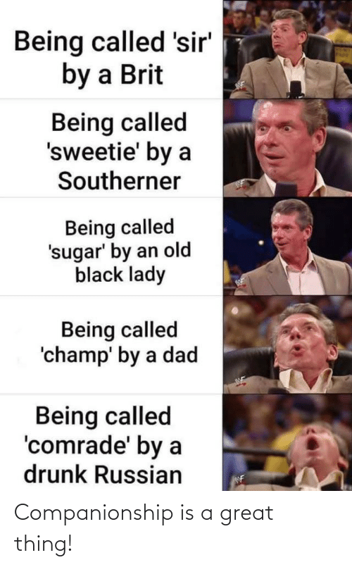 lady: Being called 'sir'  by a Brit  Being called  'sweetie' by a  Southerner  Being called  'sugar' by an old  black lady  Being called  'champ' by a dad  Being called  'comrade' by a  drunk Russian  NF Companionship is a great thing!