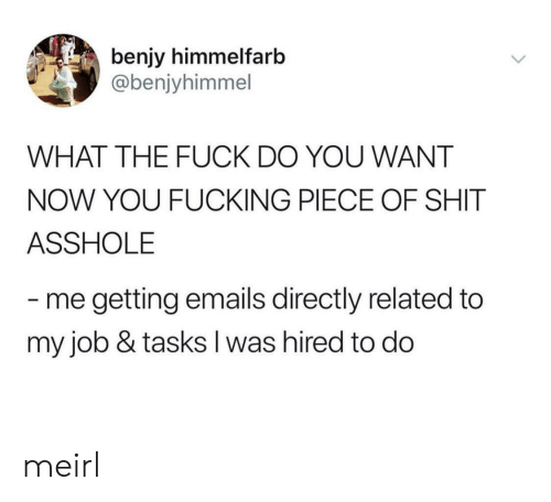 Fucking, Shit, and Fuck: benjy himmelfarb  @benjyhimmel  WHAT THE FUCK DO YOU WANT  NOW YOU FUCKING PIECE OF SHIT  ASSHOLE  me getting emails directly related to  my job & tasks I was hired to do meirl