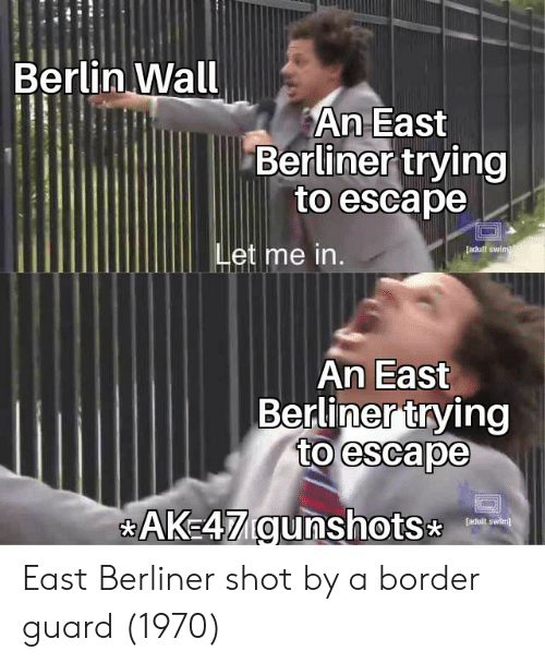 Berlin, Berlin Wall, and Ak47: Berlin Wall  An East  Berliner trying  to escape  [adult swinm  et me in.  An East  Berlinertrving  to escape  AK47 gunshots  faduit swim) East Berliner shot by a border guard (1970)