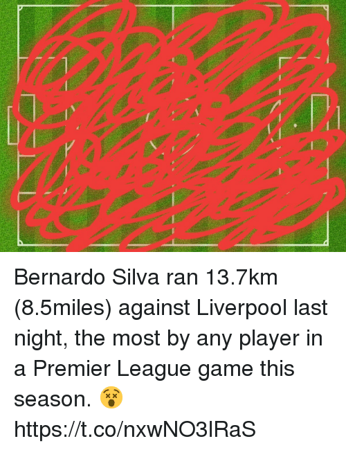 Memes, Premier League, and Liverpool F.C.: Bernardo Silva ran 13.7km (8.5miles) against Liverpool last night, the most by any player in a Premier League game this season. 😵 https://t.co/nxwNO3lRaS