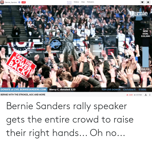 Bernie Sanders: Bernie Sanders rally speaker gets the entire crowd to raise their right hands... Oh no...
