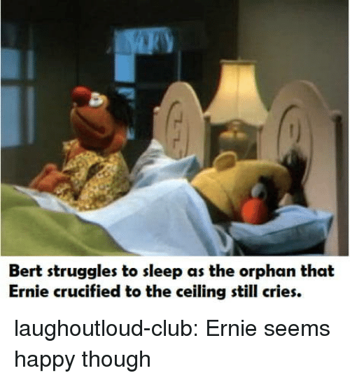 Club, Tumblr, and Blog: Bert struggles to sleep as the orphan that  Ernie crucified to the ceiling still cries. laughoutloud-club:  Ernie seems happy though