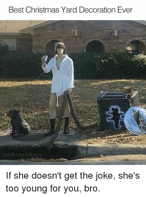Young For You: Best Christmas Yard Decoration Ever  reddit.com/r funny If she doesn't get the joke, she's too young for you, bro.