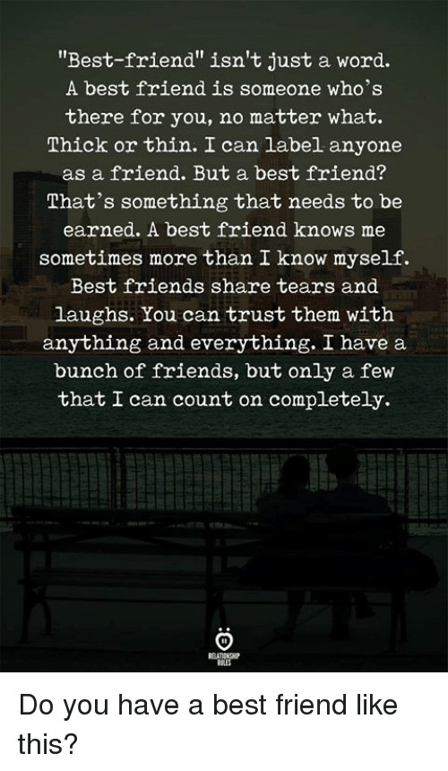 """Best Friend, Friends, and Best: """"Best-friend"""" isn't just a word.  A best friend is someone who's  there for you, no matter what.  소hick or thin. can label anyone  as a friend. But a best friend?  That's something that needs to be  earned. A best friend knows me  sometimes more than I know myself.  Best friends share tears and  laughs. You can trust them witlh  anything and everything. I have a  bunch of friends, but only a fevw  that I can count on completely. Do you have a best friend like this?"""