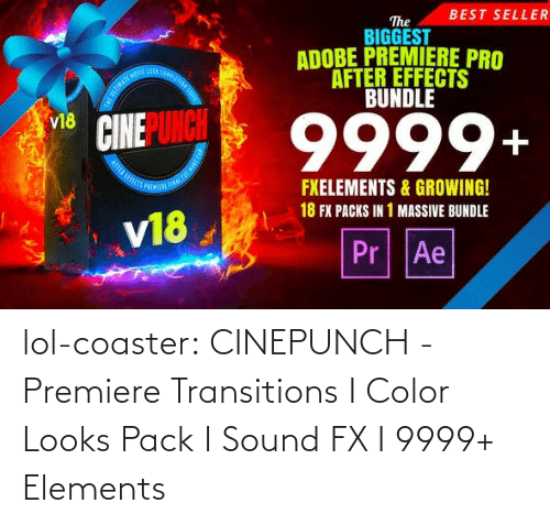 color: BEST SELLER  The  BIGGEST  ADOBE PREMIERE PRO  AFTER EFFECTS  BUNDLE  OOA COMPLE  9999+  v18  FXELEMENTS & GROWING!  18 FX PACKS IN 1 MASSIVE BUNDLE  v18  Pr Ae lol-coaster:  CINEPUNCH - Premiere Transitions I Color Looks Pack I Sound FX I 9999+ Elements