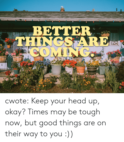 Head, Target, and Tumblr: BETTER  THINGS ARE cwote:  Keep your head up, okay? Times may be tough now, but good things are on their way to you :))