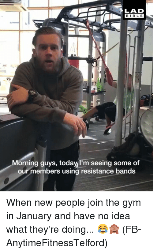 Gym, Memes, and Bible: BIBLE  Morning guys, today I'm seeing some of  our members using resistance bands When new people join the gym in January and have no idea what they're doing... 😂🙈 (FB-AnytimeFitnessTelford)