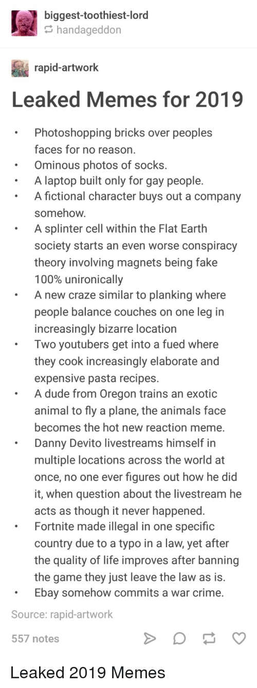 Anaconda, Animals, and Crime: biggest-toothiest-lord  handageddon  rapid-artwork  Leaked Memes for 2019  .Photoshopping bricks over peoples  faces for no reason  Ominous photos of socks.  A laptop built only for gay people.  A fictional character buys out a company  somehow  A splinter cell within the Flat Earth  society starts an even worse conspiracy  theory involving magnets being fake  100% unironically  A new craze similar to planking where  people balance couches on one leg in  increasingly bizarre location  Two youtubers get into a fued where  they cook increasingly elaborate and  expensive pasta recipes.  A dude from Oregon trains an exotic  animal to fly a plane, the animals face  becomes the hot new reaction meme.  Danny Devito livestreams himself in  multiple locations across the world at  once, no one ever figures out how he did  it, when question about the livestream he  acts as though it never happened  Fortnite made illegal in one specific  country due to a typo in a law, yet after  the quality of life improves after banning  the game they just leave the law as is.  Ebay somehow commits a war crime.  Source: rapid-artwork  557 notes Leaked 2019 Memes