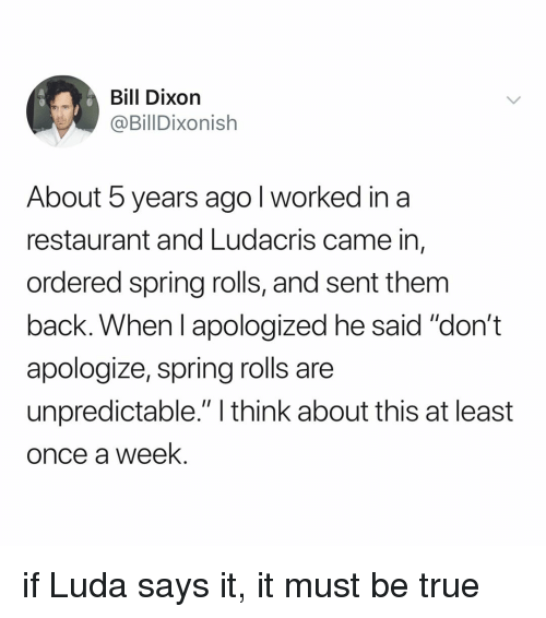 """Ludacris, True, and Restaurant: Bill Dixorn  @BillDixonish  About 5 years ago l worked in a  restaurant and Ludacris came in,  ordered spring rolls, and sent them  back. When I apologized he said """"don't  apologize, spring rolls are  unpredictable."""" I think about this at least  once a week. if Luda says it, it must be true"""