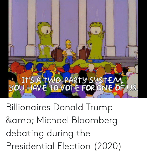Donald Trump: Billionaires Donald Trump & Michael Bloomberg debating during the Presidential Election (2020)