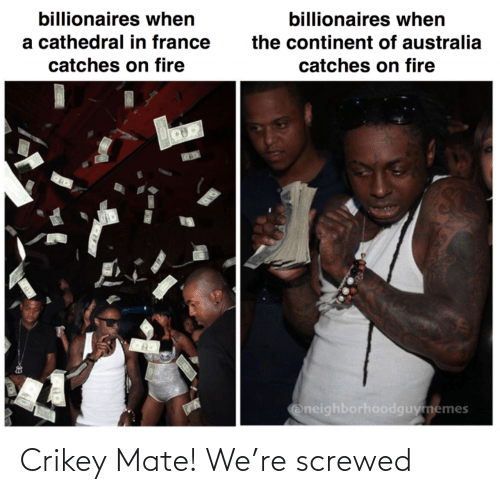 on fire: billionaires when  billionaires when  a cathedral in france  the continent of australia  catches on fire  catches on fire  Oneighborhoodguymemes Crikey Mate! We're screwed