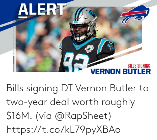 via: Bills signing DT Vernon Butler to two-year deal worth roughly $16M. (via @RapSheet) https://t.co/kL79pyXBAo