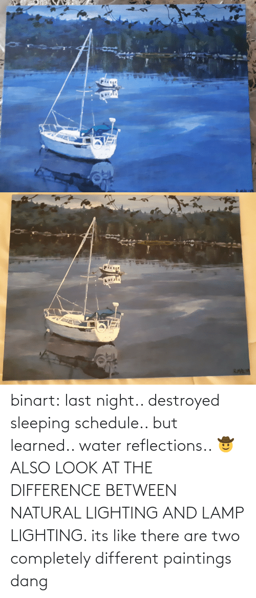 Its Like: binart:  last night.. destroyed sleeping schedule.. but learned.. water reflections.. 🤠ALSO LOOK AT THE DIFFERENCE BETWEEN NATURAL LIGHTING AND LAMP LIGHTING. its like there are two completely different paintings dang