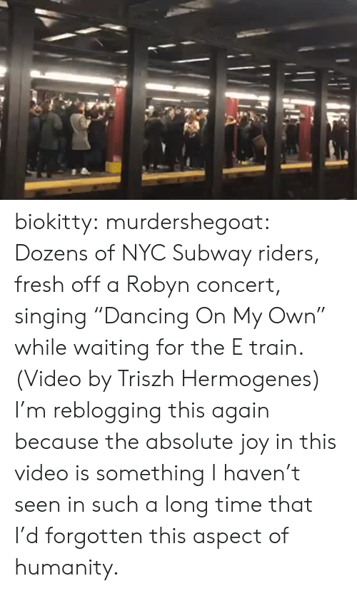 """concert: biokitty: murdershegoat: Dozens of NYC Subway riders, fresh off a Robyn concert, singing """"Dancing On My Own"""" while waiting for the E train. (Video by Triszh Hermogenes) I'm reblogging this again because the absolute joy in this video is something I haven't seen in such a long time that I'd forgotten this aspect of humanity."""