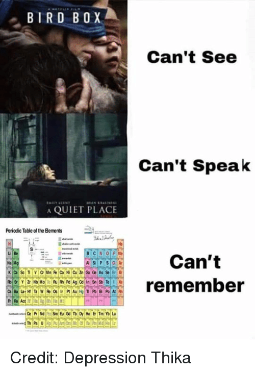 periodic table: BIRD BOX  Can't See  Can't Speak  A QUIET PLACE  Periodic Table of the Bements  He  u Be  Can't  ECREremember Credit: Depression Thika
