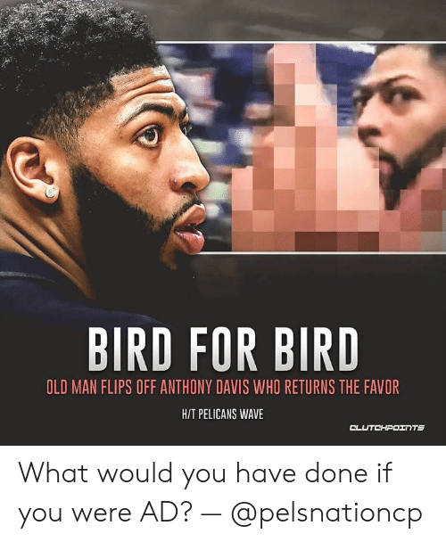 Old Man, Anthony Davis, and Old: BIRD FOR BIRD  OLD MAN FLIPS OFF ANTHONY DAVIS WHO RETURNS THE FAVOR  HIT PELICANS WAVE  CLUTCHPOTNTS What would you have done if you were AD? — @pelsnationcp