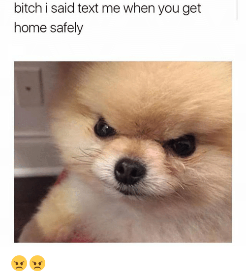 homed: bitch i said text me when you get  home safely 😠😠