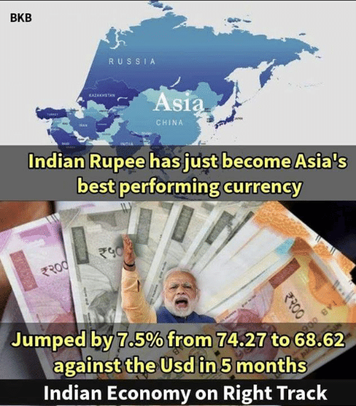 currency: BKB  RUS SI A  KAZAKHSTAN  As  CHINA  Indian Rupee has just become Asia's  best performing currency  Jumped by:7.5%from 74.27 to 68.62  against the Usd in 5 months  Indian Economy on Right Track