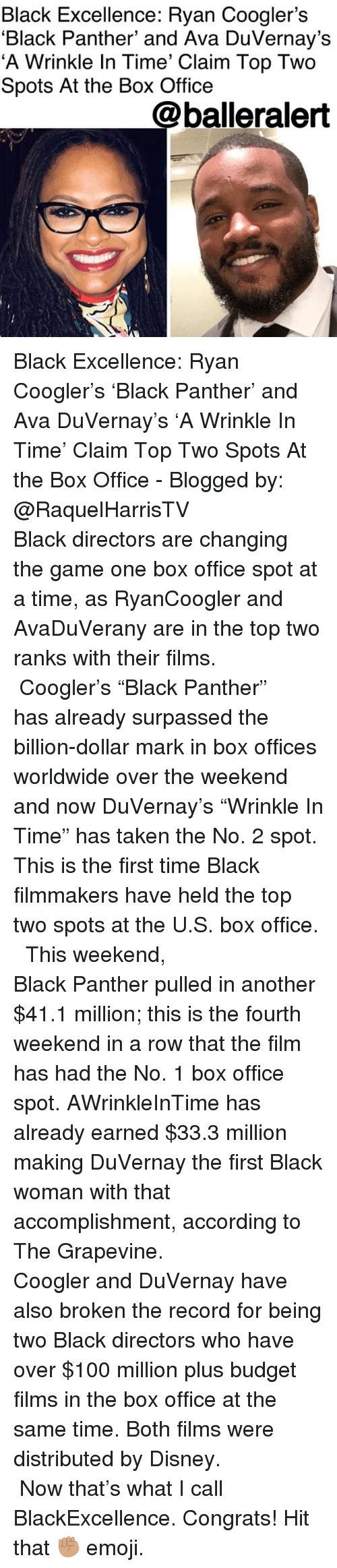 "Anaconda, Disney, and Emoji: Black Excellence: Ryan Coogler's  'Black Panther' and Ava DuVernay's  'A Wrinkle In Time' Claim Top Two  Spots At the Box Office  @balleralert Black Excellence: Ryan Coogler's 'Black Panther' and Ava DuVernay's 'A Wrinkle In Time' Claim Top Two Spots At the Box Office - Blogged by: @RaquelHarrisTV ⠀⠀⠀⠀⠀⠀⠀⠀⠀ ⠀⠀⠀⠀⠀⠀⠀⠀⠀ Black directors are changing the game one box office spot at a time, as RyanCoogler and AvaDuVerany are in the top two ranks with their films. ⠀⠀⠀⠀⠀⠀⠀⠀⠀ ⠀⠀⠀⠀⠀⠀⠀⠀⠀ Coogler's ""Black Panther"" has already surpassed the billion-dollar mark in box offices worldwide over the weekend and now DuVernay's ""Wrinkle In Time"" has taken the No. 2 spot. This is the first time Black filmmakers have held the top two spots at the U.S. box office. ⠀⠀⠀⠀⠀⠀⠀⠀⠀ ⠀⠀⠀⠀⠀⠀⠀⠀⠀ This weekend, Black Panther pulled in another $41.1 million; this is the fourth weekend in a row that the film has had the No. 1 box office spot. AWrinkleInTime has already earned $33.3 million making DuVernay the first Black woman with that accomplishment, according to The Grapevine. ⠀⠀⠀⠀⠀⠀⠀⠀⠀ ⠀⠀⠀⠀⠀⠀⠀⠀⠀ Coogler and DuVernay have also broken the record for being two Black directors who have over $100 million plus budget films in the box office at the same time. Both films were distributed by Disney. ⠀⠀⠀⠀⠀⠀⠀⠀⠀ ⠀⠀⠀⠀⠀⠀⠀⠀⠀ Now that's what I call BlackExcellence. Congrats! Hit that ✊🏽 emoji."