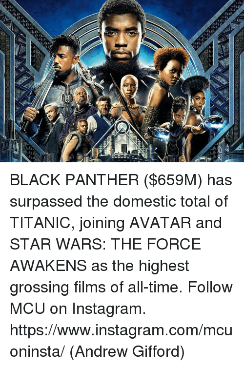 Instagram, Memes, and Star Wars: BLACK PANTHER ($659M) has surpassed the domestic total of TITANIC, joining AVATAR and STAR WARS: THE FORCE AWAKENS as the highest grossing films of all-time.  Follow MCU on Instagram. https://www.instagram.com/mcuoninsta/  (Andrew Gifford)