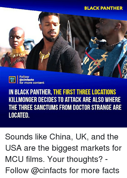 Doctor, Facts, and Memes: BLACK PANTHER  Follow  ONIMA  ROİ     @cinfacts  for more content  IN BLACK PANTHER, THE FIRST THREE LOCATIONS  KILLMONGER DECIDES TO ATTACK ARE ALSO WHERE  THE THREE SANCTUMS FROM DOCTOR STRANGE ARE  LOCATED. Sounds like China, UK, and the USA are the biggest markets for MCU films. Your thoughts?⠀ -⠀⠀ Follow @cinfacts for more facts