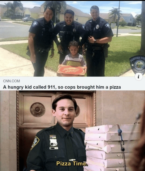 cnn.com, Hungry, and Pizza: BLOPORD FOR  i  CNN.COM  A hungry kid called 911, so cops brought him a pizza  Pizza Time.