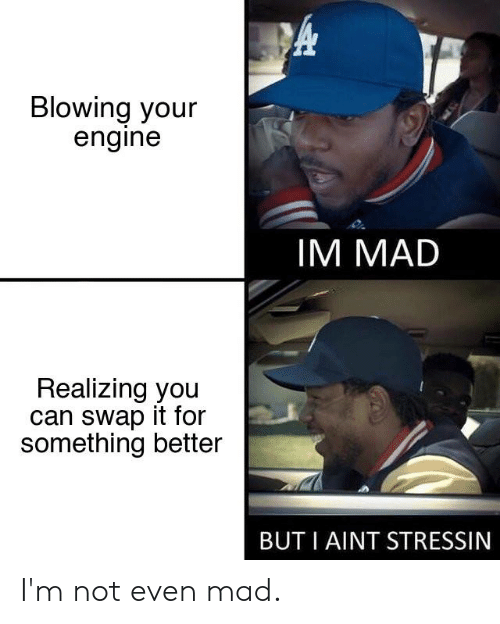 Cars, Mad, and Can: Blowing your  engine  IM MADD  Realizing you  can swap it for  something better  BUT I AINT STRESSIN I'm not even mad.