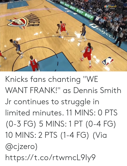"""Smith: BLUE SEATS  KIA  MIS BUDY'S FOR YOU.  TH  FOR  BONUS  BONUS  29.6  81  76  3RD 24  AMSG  BOS  NYK  LIVE  s, 2 reb, 4 ast, 1 blk L Smith: 10 pts, 2 reb, 3 astTV  NBA SCORES  WIZARDS Knicks fans chanting """"WE WANT FRANK!"""" as Dennis Smith Jr continues to struggle in limited minutes.   11 MINS: 0 PTS (0-3 FG) 5 MINS: 1 PT (0-4 FG) 10 MINS: 2 PTS (1-4 FG)  (Via @cjzero)  https://t.co/rtwmcL9Iy9"""