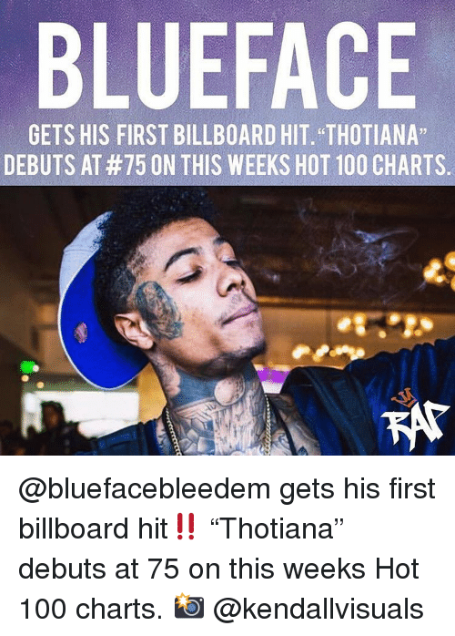 "Anaconda, Billboard, and Memes: BLUEFACE  GETS HIS FIRST BILLBOARD HIT. ""THOTIANA""  DEBUTS AT #75 ON THIS WEEKS HOT 100 CHARTS. @bluefacebleedem gets his first billboard hit‼️ ""Thotiana"" debuts at 75 on this weeks Hot 100 charts. 📸 @kendallvisuals"