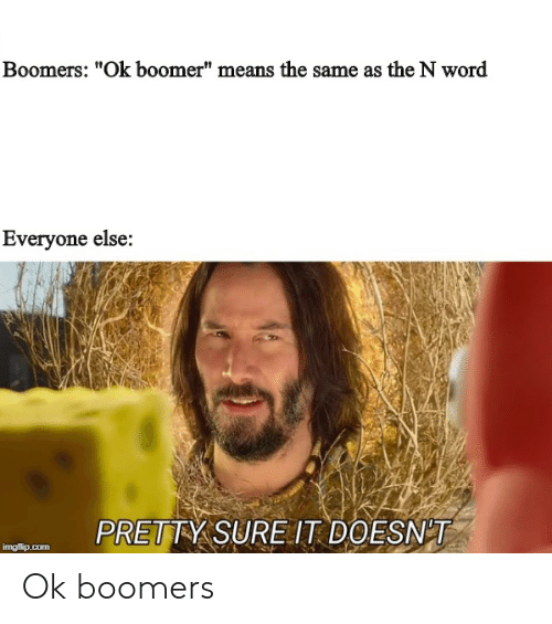 """Word, Com, and Means: Boomers: """"Ok boomer"""" means the same as the N word  Everyone else:  PRETTY SUREIT DOESNT  imgflip.com Ok boomers"""