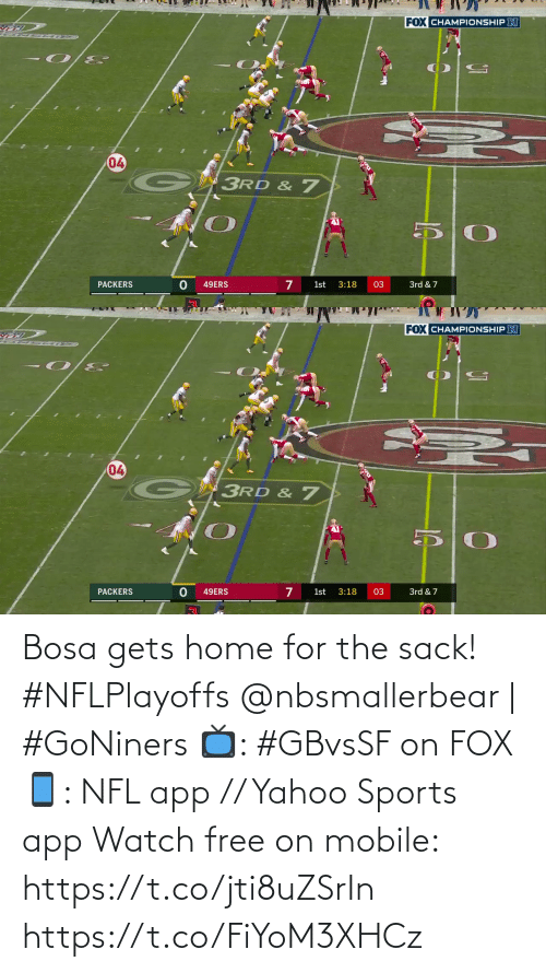 app: Bosa gets home for the sack! #NFLPlayoffs  @nbsmallerbear | #GoNiners  📺: #GBvsSF on FOX 📱: NFL app // Yahoo Sports app Watch free on mobile: https://t.co/jti8uZSrIn https://t.co/FiYoM3XHCz