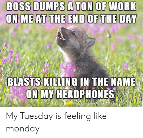 end of the day: BOSS DUMPS A TON OF WORK  ON ME AT THE END OF THE DAY  BLASTS KILLING IN THE NAME  ON MY HEADPHONES  made on in  gu My Tuesday is feeling like monday