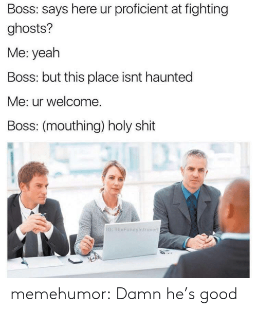 mouthing: Boss: says here ur proficient at fighting  ghosts?  Me: yeah  Boss: but this place isnt haunted  Me: ur welcome.  Boss: (mouthing) holy shit  IG: TheFunnyintrovert memehumor:  Damn he's good