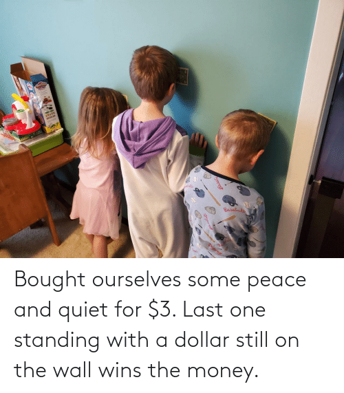 Peace: Bought ourselves some peace and quiet for $3. Last one standing with a dollar still on the wall wins the money.