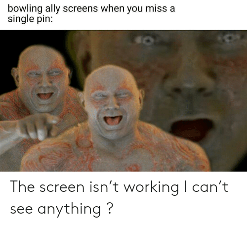 Screens: bowling ally screens when you miss a  single pin: The screen isn't working I can't see anything ?