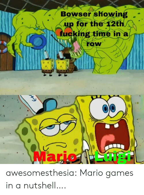 Bowser, Fucking, and Tumblr: Bowser showing  up for the 12th  fucking time in a  row  Mario 1- heTL awesomesthesia:  Mario games in a nutshell….