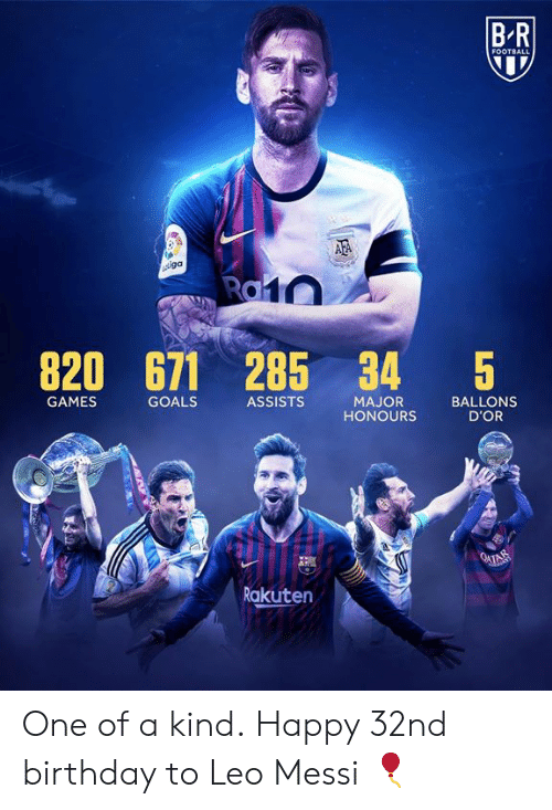 Birthday, Football, and Goals: BR  FOOTBALL  AFA  iga  Ra10  820  671 285 34  $5  GAMES  GOALS  ASSISTS  MAJOR  HONOURS  BALLONS  D'OR  O4TAM  Rakuten One of a kind.  Happy 32nd birthday to Leo Messi 🎈