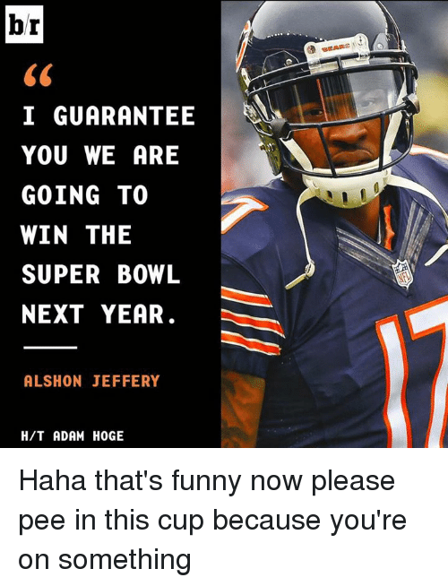 Memes, Super Bowl, and Alshon Jeffery: br  I GUARANTEE  YOU WE ARE  GOING TO  WIN THE  SUPER BOWL  NEXT YEAR.  ALSHON JEFFERY  H/T ADAM HOGE Haha that's funny now please pee in this cup because you're on something