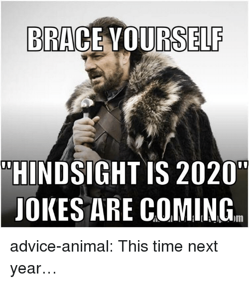 """Advice, Tumblr, and Animal: BRACE VOURSELF  """"HINDSIGHT IS 2020""""  JOKES ARE COMING. advice-animal:  This time next year…"""