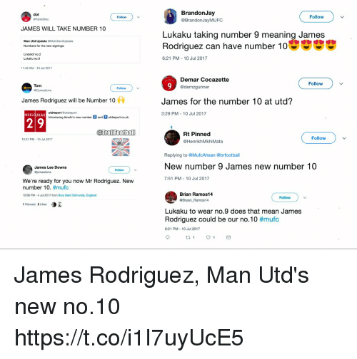 Jamesness: BrandonJay  @BrandonJayMUFC  dol  Follow  Follow  FarisiDolz  JAMES WILL TAKE NUMBER 10  Lukaku taking number 9 meaning James  Rodriguez can have number 10  Man Utd Update OMufcDevilUpdate  Numbers for the new signings:  Lindelof no.2  Lukaku no.9  6:21 PM 10 Jul 2017  11:46 AM-10 Jul 2017  Demar Cocazette  @demzgunner  Follow  Tom  Follow  James Rodriguez will be Number 10  James for the number 10 at utd?  utdreport Gutdreport  Introducing #mufc's new number  3:29 PM- 10 Jul 2017  NDELOUKAK  and  utdreport.co.uk  @urollfootball  Rt Pinned  @HenrikhMkhiMata  Follow  12:31 PM-10 Jul 2017  OCCER  Replying to @MufcAhsan @brfootball  New number 9 James new number 10  7:51 PM 10 Jul 2017  James Lee Downs  Follow  We're ready for you now Mr Rodriguez. New  number 10. #mufc  10:58 PM-4 Jul 2017 from Bury Saint Edmunds, England  1 Retweet 2 Likes  Brian Ramos14  @Bryan Ramos14  Follow  Lukaku to wear no.9 does that mean James  Rodriguez could be our no.10 #mufc  6:21 PM 10 Jul 2017 James Rodriguez, Man Utd's new no.10 https://t.co/i1I7uyUcE5