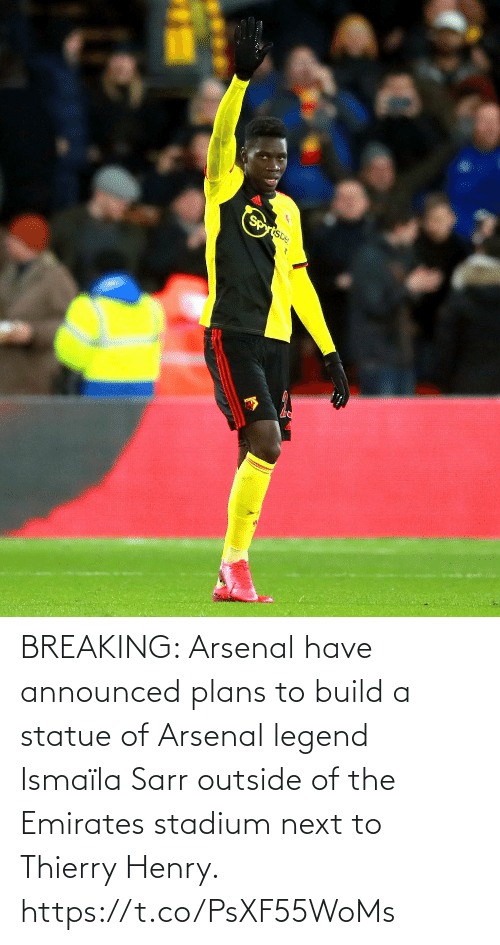 Arsenal: BREAKING: Arsenal have announced plans to build a statue of Arsenal legend Ismaïla Sarr outside of the Emirates stadium next to Thierry Henry. https://t.co/PsXF55WoMs