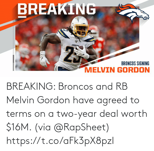 via: BREAKING: Broncos and RB Melvin Gordon have agreed to terms on a two-year deal worth $16M. (via @RapSheet) https://t.co/aFk3pX8pzI