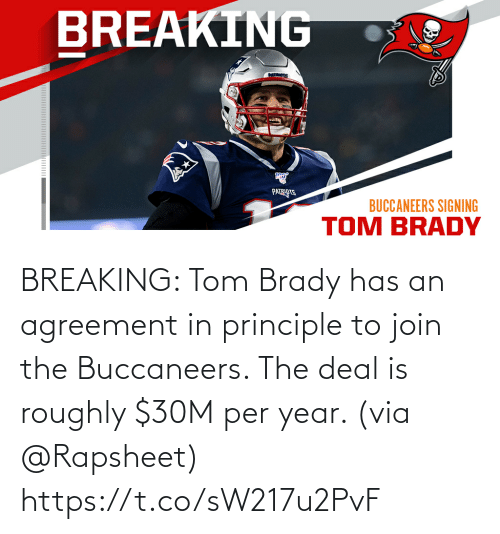 via: BREAKING: Tom Brady has an agreement in principle to join the Buccaneers. The deal is roughly $30M per year. (via @Rapsheet) https://t.co/sW217u2PvF