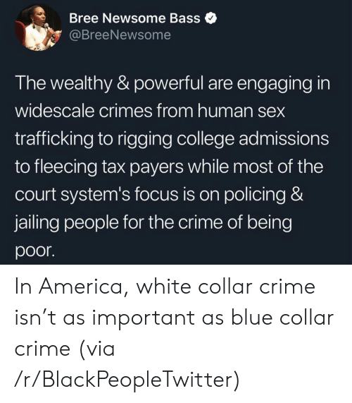 court: Bree Newsome Bass  @BreeNewsome  The wealthy & powerful are engaging in  widescale crimes from human sex  trafficking to rigging college admissions  to fleecing tax payers while most of the  court system's focus is on policing &  jailing people for the crime of being  poor In America, white collar crime isn't as important as blue collar crime (via /r/BlackPeopleTwitter)