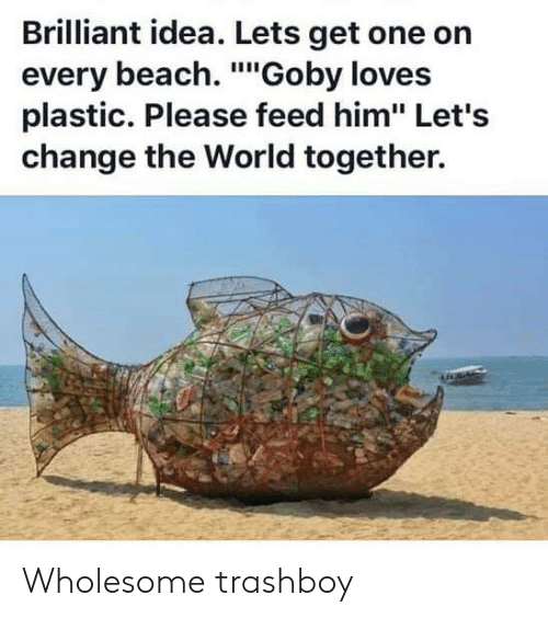 """Beach, World, and Brilliant: Brilliant idea. Lets get one on  every beach. """"Goby loves  plastic. Please feed him"""" Let's  change the World together. Wholesome trashboy"""