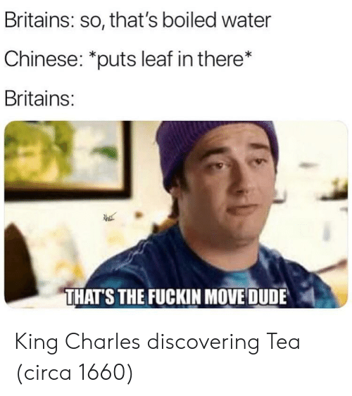 "Dude, Chinese, and Water: Britains: so, that's boiled water  Chinese: ""puts leaf in there*  Britains:  THATS THE FUCKIN MOVE DUDE King Charles discovering Tea (circa 1660)"