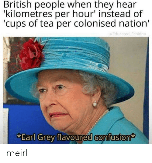 Per: British people when they hear  'kilometres per hour' instead of  'cups of tea per colonised nation'  u/Educated Echidna  *Earl Grey flavoured confusion meirl